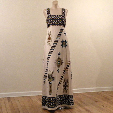 70s,Shaheen,Native,American,Print,Maxi,Dress,36b,1970s, 70s, vintage, dress, maxi, Shaheen, Alfred, native american, southwestern, navajo, silk screen, designer