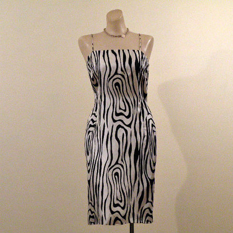 60s,Tee,Ca,Op,Art,Silk,Print,Dress,36b/28.5w,1960s, 60s, vintage, mod, curvy, silk, print, dress, op art, party, cocktail, mini, Tee-Ca, Tee Ca