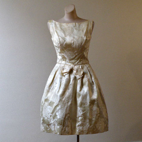 60s,Yellow,Brocade,Tulip,Skirt,Party,Dress,34b/25w,1960s, 60s, vintage, dress, yellow, brocade, roses, full skirt, puff, crinoline, mad men, cocktail, party, evening, dance, tulip skirt