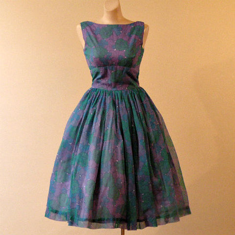 60s,Jonathan,Logan,Chiffon,Full,Skirt,Dress,35b/28w,50s, 1950s, 60s, 1960s, vintage, green, purple, blue, chiffon, full skirt, party, dress, Jonathan Logan, summer, spring, mad men, prom