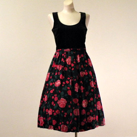 60s,Velvet,and,Roses,Lanz,Dress,34b/27w,1960s, 60s, vintage, dress, party, dance, full, Lanz, roses, black, red, pink, Mad Men