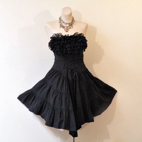 80s,Black,Strapless,Corset,Dress,1980s, 80s, vintage, dress, party, cocktail, dance, d.b.a.-l.a., black, strapless, ruffles, lace, corset, lacing, full skirt