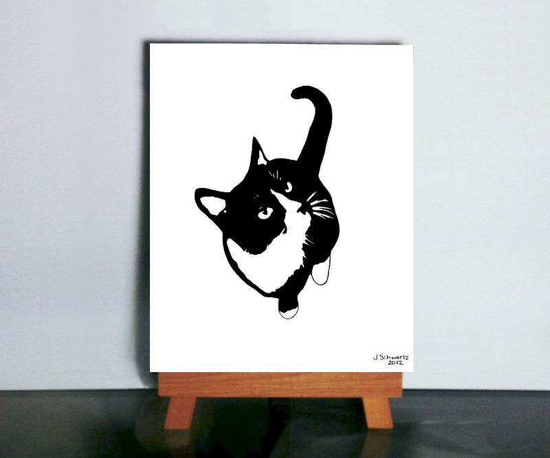 Delicieux Cat Silhouette Art   Black And White Cat Art, Tuxedo Cat Art, Cat Wall