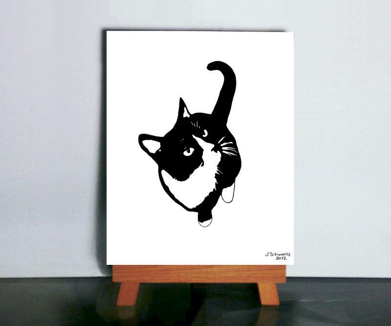 Charmant Cat Silhouette Art   Black And White Cat Art, Tuxedo Cat Art, Cat Wall