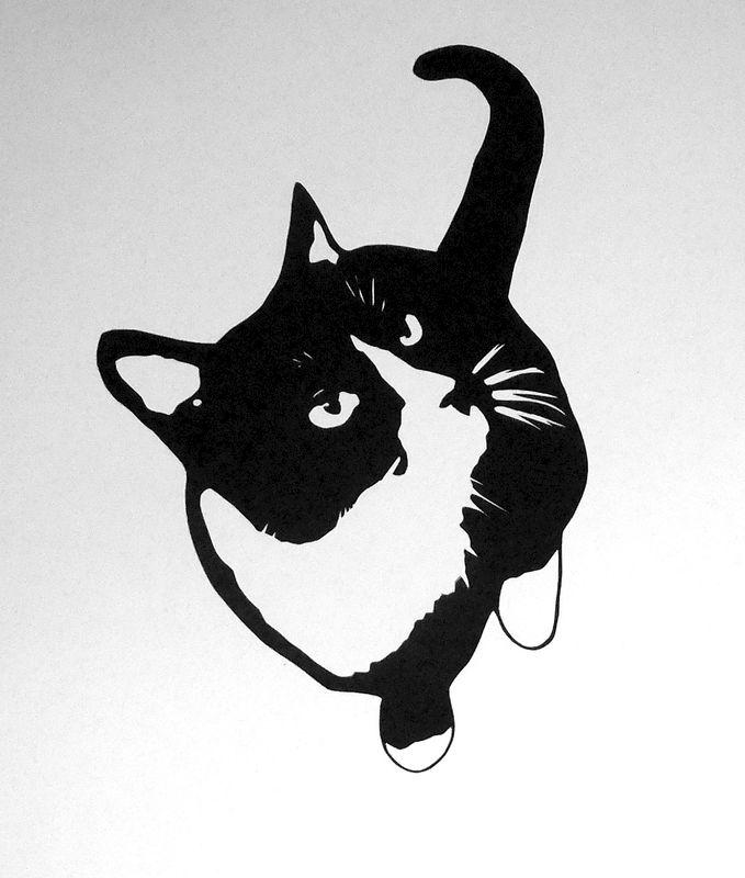Cat Silhouette Art - Black and White Cat Art, Tuxedo Cat Art, Cat Wall