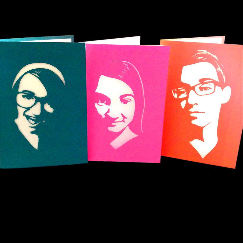 Custom portrait greeting card vibrant shadows paper art custom portrait greeting card product image m4hsunfo