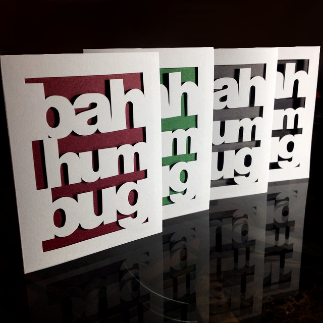 Bah Humbug Christmas Card - Vibrant Shadows Paper Art