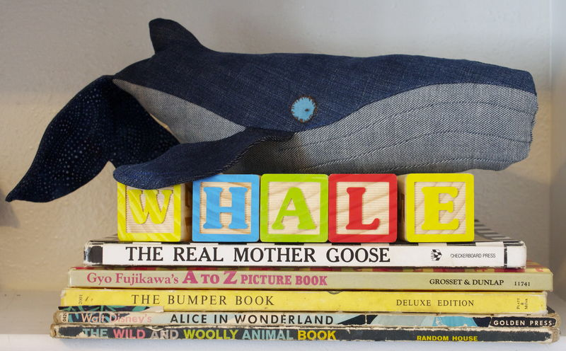 Vintage Denim Handmade Plush Humpback Whale Mama - product images  of