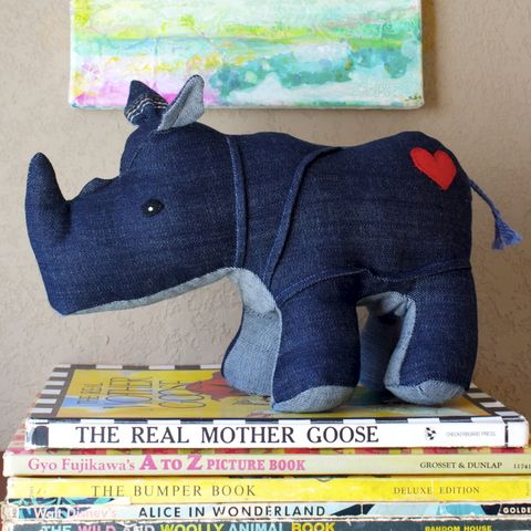 Rumble,the,Rhino,-,handmade,plush,rhino,created,out,of,repurposed,vintage,denim,upcycled,plush_rhino,rhinoceros,realistic,kids_toys,baby_shower