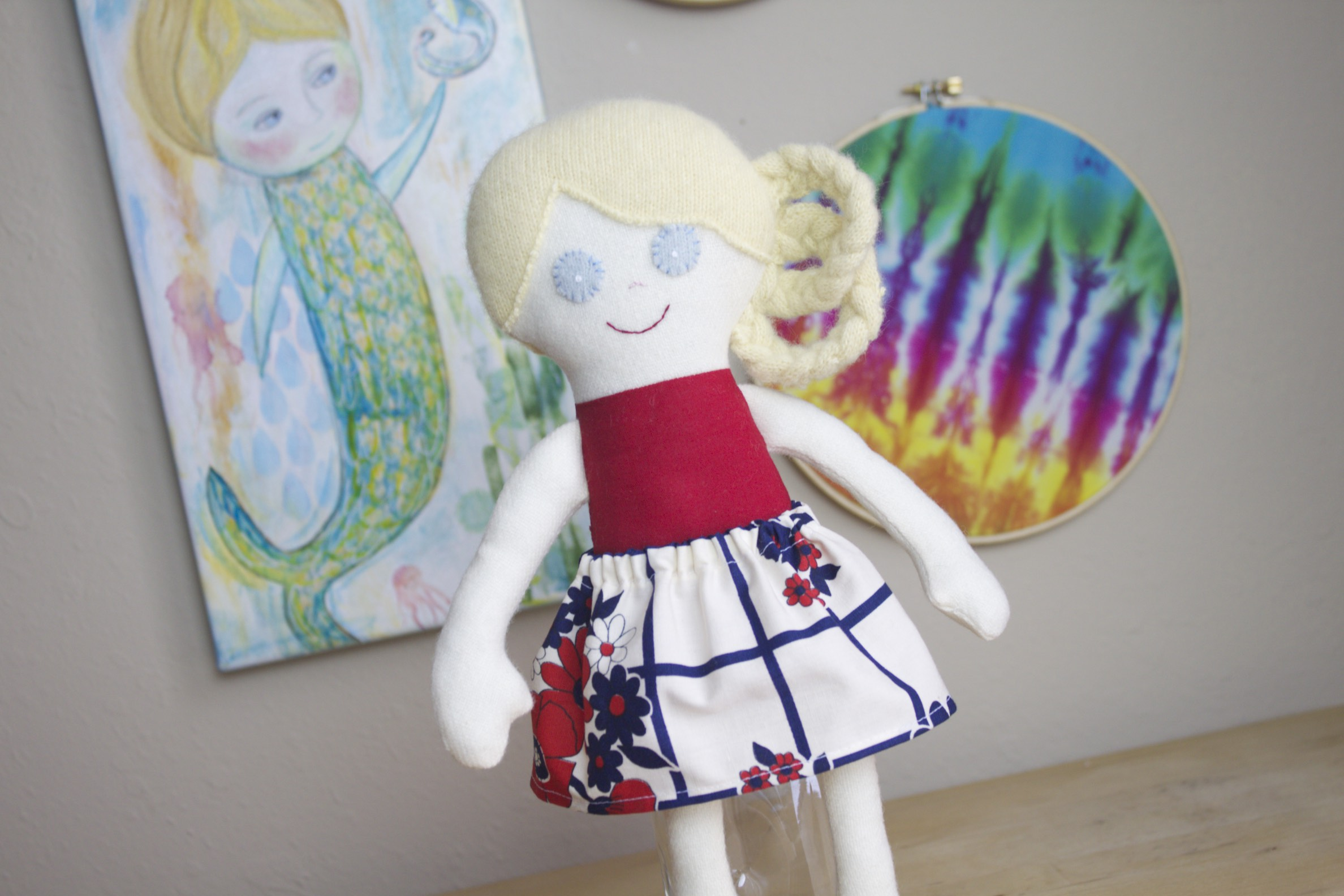 Upcycled handmade doll