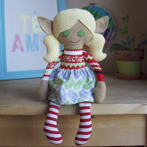 Rosie,-,Large,handcrafted,elf,doll,rag doll, handmade toy, christmas, kindness elf, christmas elf, fancy doll, upcycled toy, upcycle, repurpose, ecotoy, ecofriendly toy, ecofriendly nursery