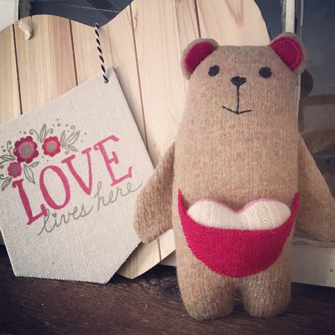 Theo,-,Plush,Wool,Bear,Teddy bear, ecotoy, plush, upcycled toy, wool plush, valentines, valentines gifts for kids