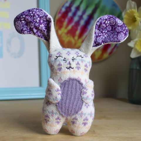 Molly,-,Upcycled,wool,bunny,Bunny, rabbit, ecotoy, plush, upcycled toy, wool plush, easter, easter bunny, easter basket, handmade plush bunny, wool bunny