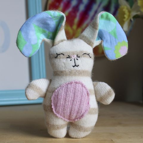 Blush,-,Upcycled,wool,bunny,Bunny, rabbit, ecotoy, plush, upcycled toy, wool plush, easter, easter bunny, easter basket, handmade plush bunny, wool bunny