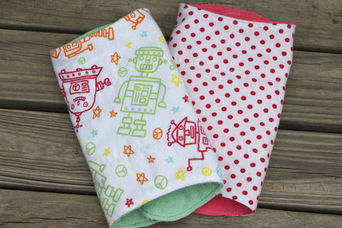 Robot,burp,cloth,set,of,2,Burp_cloth,spit_rag,prefold_diaper,diaper_cloth,baby_shower,baby_gift,hand_dyed,robots,baby