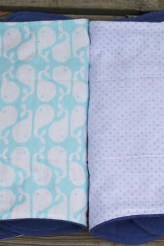 Whale,burp,cloth,set,of,2,Burp_cloth,spit_rag,prefold_diaper,diaper_cloth,baby_shower,baby_gift,hand_dyed,whales,baby