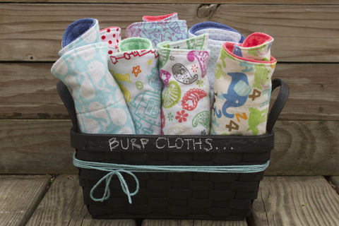 Burp,cloth,set,of,7,Burp_cloth,spit_rag,prefold_diaper,diaper_cloth,baby_shower,baby_gift,hand_dyed,whales,robots,dots,mermaids,ocean,jellyfish,baby