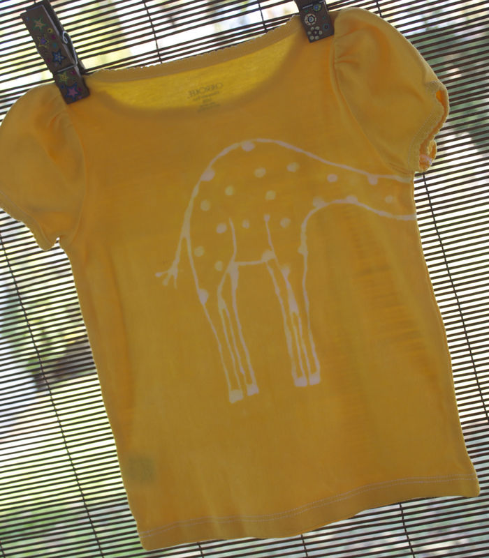 Tip-top the Giraffe - hand-dyed t-shirt original design front and back - multiple colors available - product images  of