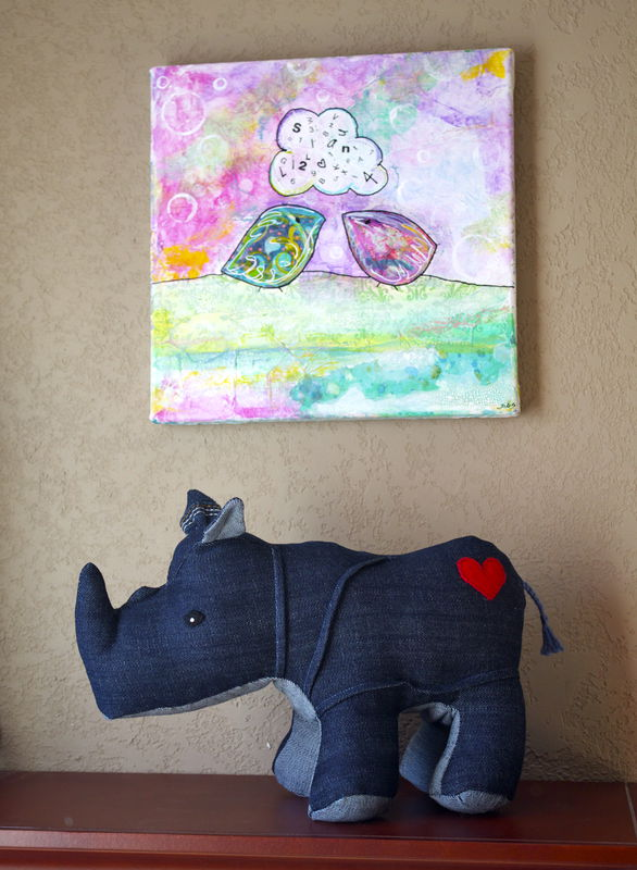 Rumble the Rhino - handmade plush rhino created out of repurposed vintage denim - product images  of
