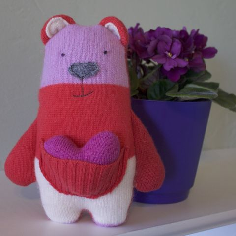Josie,-,Plush,Wool,Bear,Teddy bear, ecotoy, plush, upcycled toy, wool plush, valentines, valentines gifts for kids