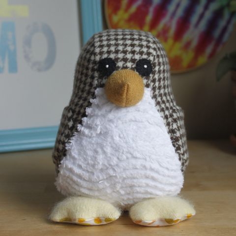 Custom,order,for,Kate,Penguin, upcycled, wool, eco friendly, plush, eco friendly toy