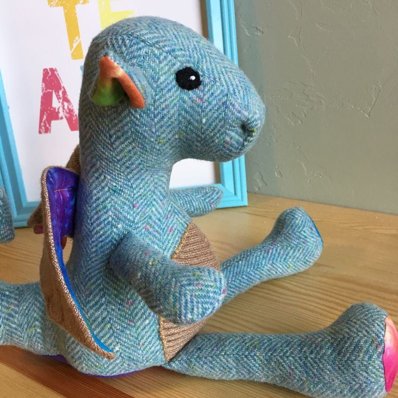 Scorch - Handmade Plush Mini Dragon with Organic Tie Dye Accents - product image