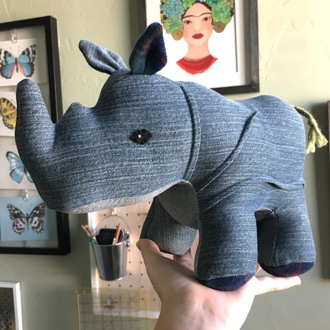Rumble,-,Denim,&,Wool,Rhino,vintage,upcycled,repurposed,denim,plush_rhino,rhinoceros,realistic,kids_toys,baby_shower