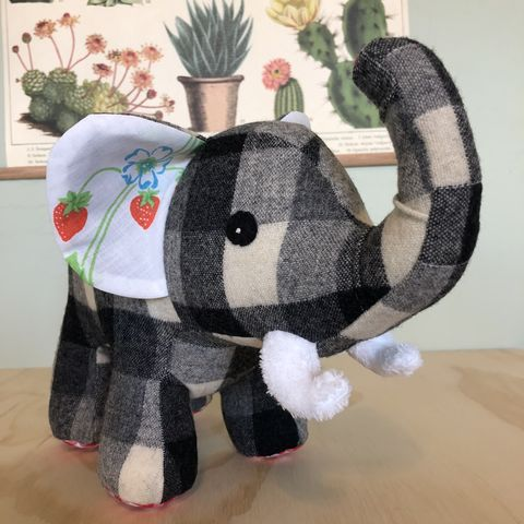 Bess,-,upcycled,plush,elephant, elephant, handmade plush elephant, eco friendly, wool, vintage textiles
