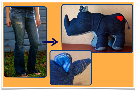 Custom,rhino,from,your,favorite,jeans,repurposed_denim,custom_stuffed_animal,rhinoceros,vintage_denim,handmade,denim_love
