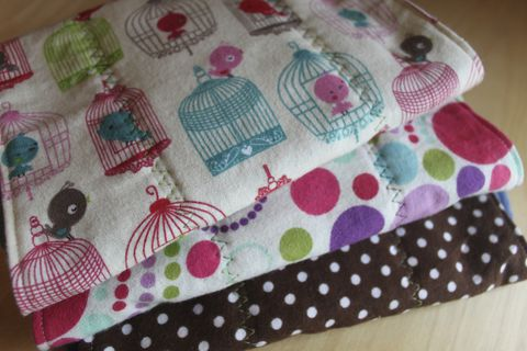 Bird,burp,cloth,set,of,3,Burp_cloth,spit_rag,prefold_diaper,diaper_cloth,baby_shower,baby_gift,hand_dyed,birds,cloth diapers,bird cage,polka_dots,baby