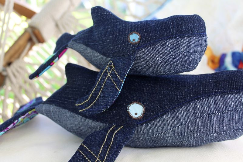 "LIMITED EDITION Handcrafted Small Plush Humpback Whale Set ""Ballena & Mar "" - product images  of"