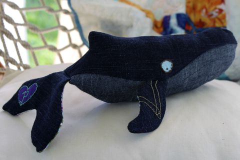 LIMITED,EDITION,Handcrafted,Mama,Plush,Humpback,Whale,Mar,Humpback whale,100% silk,soleil moon frye,punky brewster,handmade toy,eco friendly plush,ocean,nautical nursery decor,baby shower gift,denim,upcycled,eco friendly baby gifts,nautical baby shower,repurposed,navy blue,stuffed whale