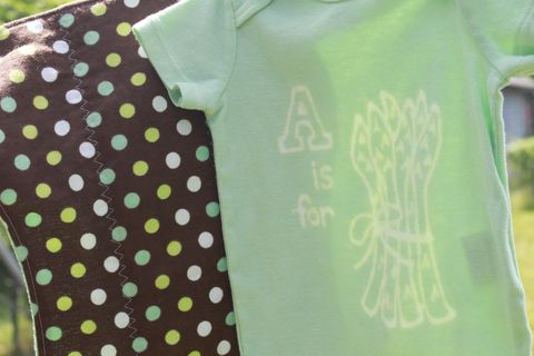 A,is,for,Asparagus,gift,set-,hand,dyed,onesie,and,contoured,burp,cloth,Children,Clothing,veggie,asparagus,vegan baby,hand dyed,dye resist,baby gifts,green,baby shower,cotton,procion mx dye