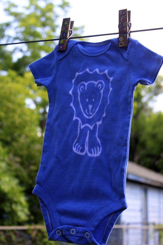 Jonathan the Lion - Blue hand dyed onesie original design front and back - product images  of