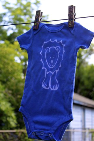 Jonathan,the,Lion,-,Blue,hand,dyed,onesie,original,design,front,and,back,Children,Clothing,hand_dyed,baby_shower,baby_christmas_gift,safari,lion,elephant,giraffe,yellow,fall_colors,children,stocking_stuffer,under_20,cotton,procion_mx_dye,dye_resist