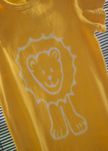 Jonathan,the,Lion,-,hand,dyed,onesie,original,design,front,and,back,Children,Clothing,hand_dyed,baby_shower,baby_christmas_gift,safari,lion,elephant,giraffe,yellow,fall_colors,children,stocking_stuffer,under_20,cotton,procion_mx_dye,dye_resist