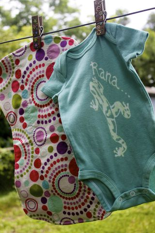 Rana/Frog,gift,set-,hand,dyed,onesie,and,contoured,burp,cloth,Children,Clothing,frog, baby,hand dyed,dye resist,baby gifts,baby shower,cotton,procion mx dye, tropical