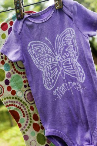 Mariposa/Butterfly,gift,set-,hand,dyed,onesie,and,contoured,burp,cloth,Children,Clothing,butterfly, baby,hand dyed,dye resist,baby gifts,baby shower,cotton,procion mx dye, tropical