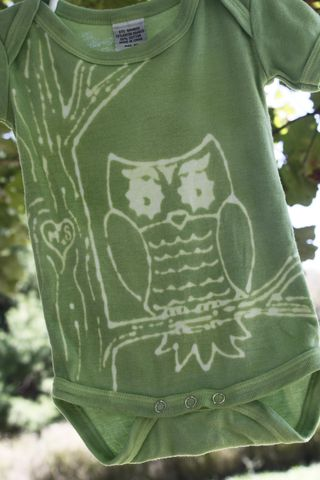 Owl,-,hand,dyed,eco,friendly,bamboo,onesie,original,design,Children,Clothing,owl, woodland nursery, trees,hand_dyed,eco friendly, earth friendly babydye_resist,baby_gifts,baby_shower,ocean
