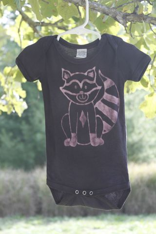 Raccoon,-,hand,dyed,eco,friendly,bamboo,onesie,original,design,Children,Clothing,raccoon, woodland nursery, trees,hand_dyed,eco friendly, earth friendly baby,dye_resist,baby_gifts,baby_shower