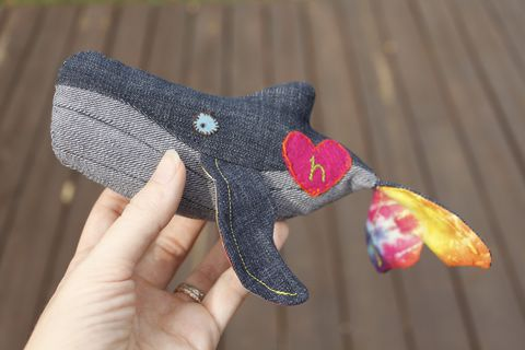 Upcycled,&,organic,lily,gus/Shanna's,Tie,Dye,whale,(tiny),100% organic plush, organic lovey, upcycled lovey, upcycled jeans, organic stuffed animal, OOAK, heirloom toys, handmade plush, humpback whale, Shanna's tie dye, lily and gus, limited edition