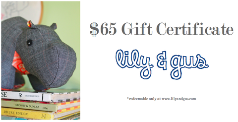 $65,Gift,Certificate,gift certificate, plush toy, customizable, upcycled, lily and gus, personalized clothing