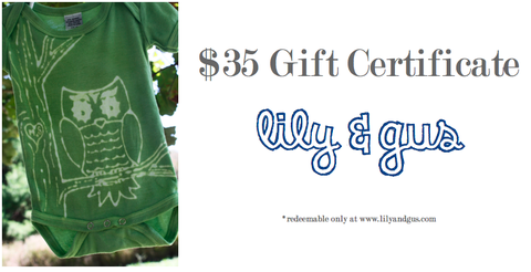 $35,Gift,Certificate,gift certificate, custom clothing, hand dyed, lily and gus, personalized clothing