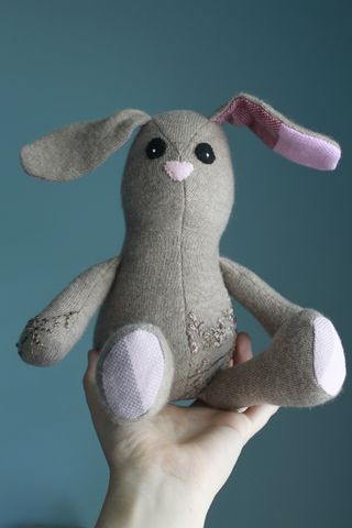 Blush,the,Bunny,-,Wool,plush,rabbit,with,floral,embroidery,and,wrap,scrap,accents,Handmade bunny,wool rabbit,plush rabbit,wrap scrap, repurposed,eco friendly stuffed toy,easter bunny,unique bunny,plush bunny,stuffed rabbit