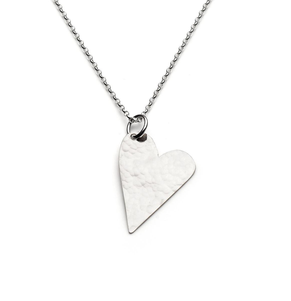 Large silver hammered heart necklace chloe michell jewellery large silver hammered heart necklace mozeypictures Gallery