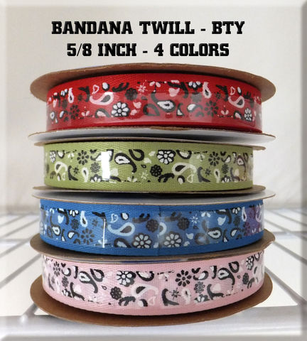 Bandana,Twill,By,The,Yard,5/8,-,Pink,,Turquoise,,Red,,or,Lime,Bandana Twill By The Yard 5/8 - Pink, Turquoise, Red, or Lime, Red Bandana Twill ribbon, Pink bandana twill ribbon, turquoise bandana twill ribbon, lime bandana twill ribbon, Black Zebra Grosgrain, Blue Zebra Grosgrain, Lime Green Zebra Grosgrain