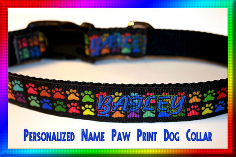 Personalized,Name,Paw,Print,Custom,Designed,Dog,Collar,Personalized Name Paw Print Custom Designed Dog Collar, Pets,Adjustable,Designer_Dog_Collar,Stylish_Dog_Collar,Custom_Dog_Collar,Colorful_Dog_Collar,Unique_Dog_Collar,Custom_Design,Gwennys_Hideaway,Olies_Closet,Size_Large_Collar,Manhatten_