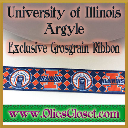 Illinois,University,of,Argyle,Olie's,Closet,Exclusive,Grosgrain,Ribbon,University of Illinois Argyle Olies Closet Exclusive Grosgrain Ribbon