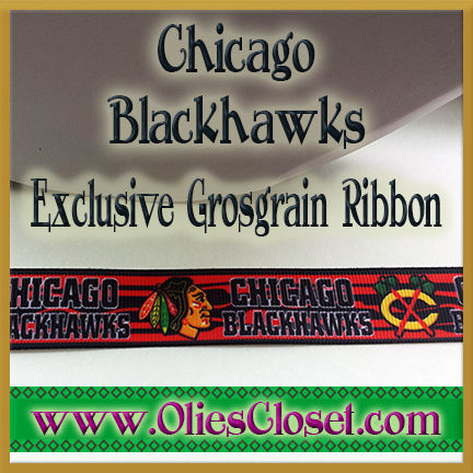 Chicago,Blackhawks,Olie's,Closet,Exclusive,Grosgrain,Ribbon,Chicago Blackhawks Olies Closet Exclusive Grosgrain Ribbon