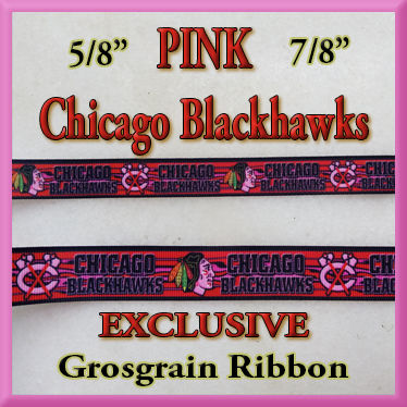 Chicago,Blackhawks,PINK,Olie's,Closet,Exclusive,Grosgrain,Ribbon,Chicago Blackhawks PINK Olies Closet Exclusive Grosgrain Ribbon